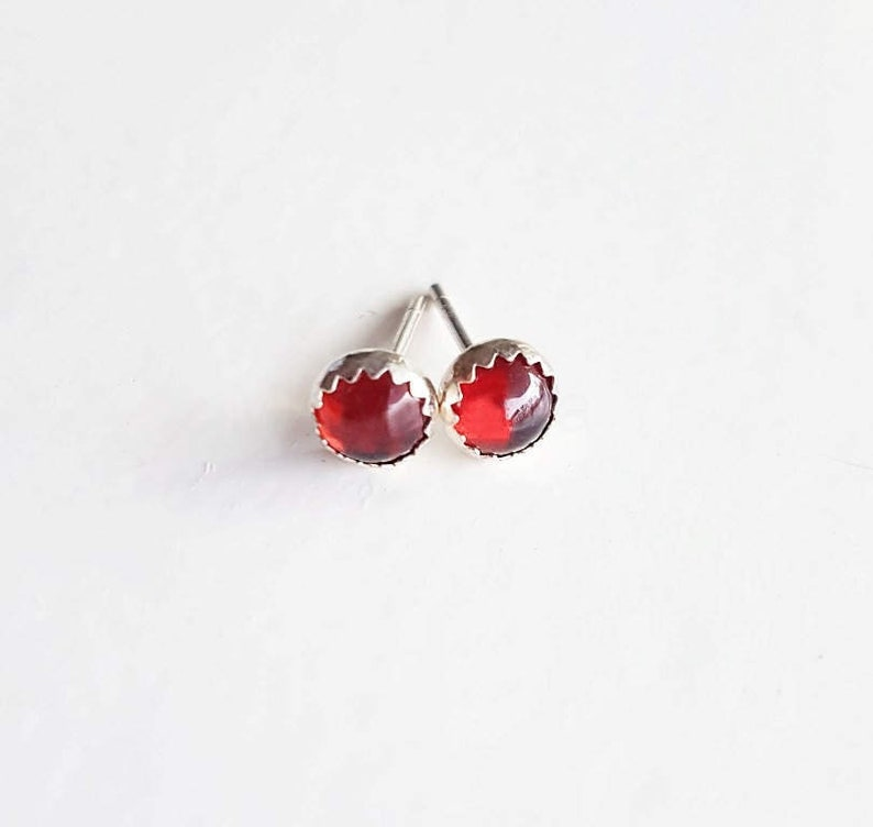 Garnet Earrings Red Garnet Jewelry January BirthstoneRed image 0