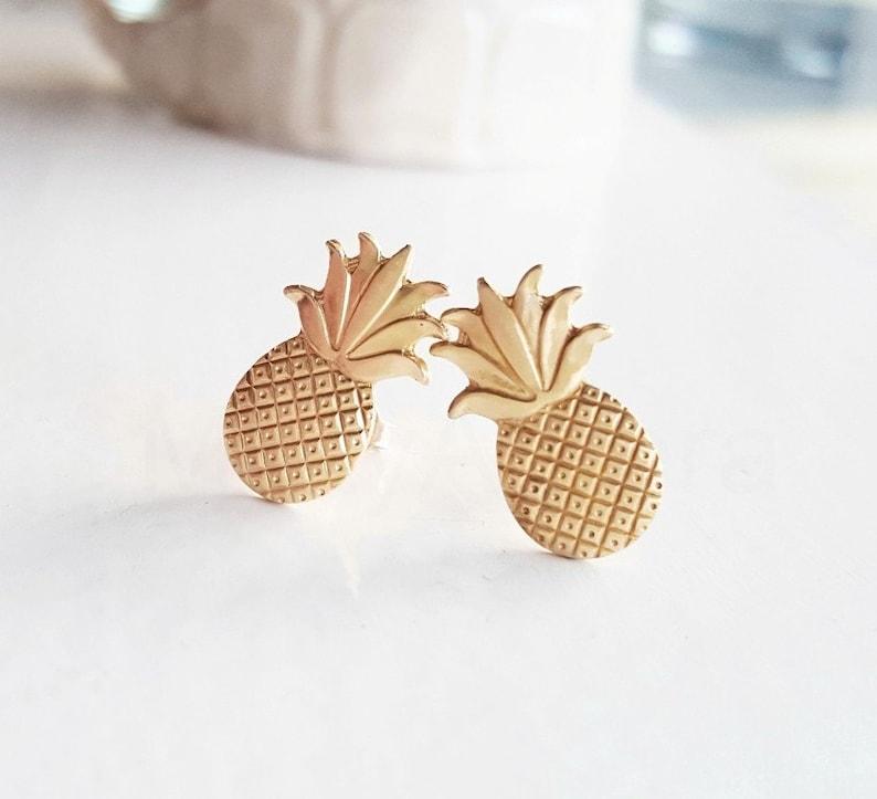 Pineapple Earrings Summer Studs Fruit Jewelry Tropical image 0