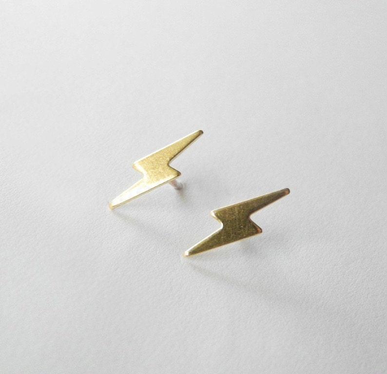 ff4f8c775 Lightning Bolt Studs Earrings Sterling Silver Post Unisex | Etsy