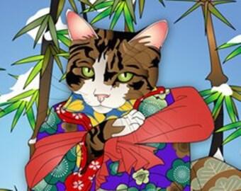 Winter Poem, Wall Art, Cat Print, Japanese Kimono, Original Art Print, Cat Tales