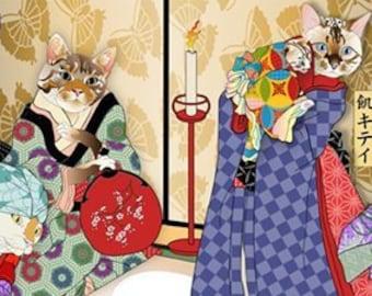 Without Wheat Bake Shop, Wall Art, Cat Print, Japanese Kimono, (Gluten free) Original Art Print, Cat Tales