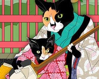 Songbirds, Metal Print, Wall Art, Cat Print, Japanese Kimono, Original Art Print, Cat Tales