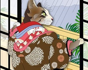 Watching the Rain Metal Print, Wall Art, Cat Print, Japanese Kimono, Original Art Print, Cat Tales