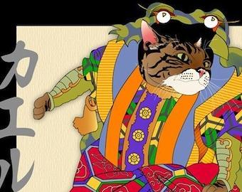 The Frog Prince, Metal Print, Wall Art, Cat Print, Japanese Kimono, Original Art Print, Cat Tales