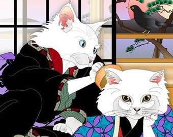 So At Home Together, Metal Print, Wall Art, Cat Print, Japanese Kimono, Original Art Print, Cat Tales