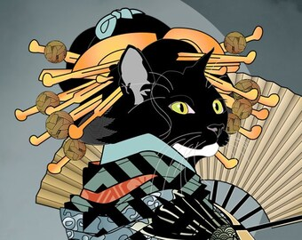 The Koi Kimono, Metal Print, Wall Art, Cat Print, Japanese Kimono, Original Art Print, Cat Tales