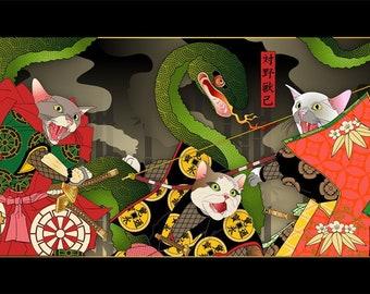 Epic, Metal Print, Wall Art, Cat Print, Japanese Kimono, Original Art Print, Cat Tales
