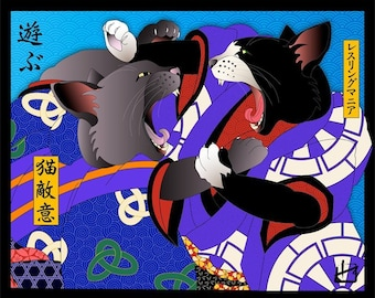 Wrestlemania, Wall Art, Cat Print, Japanese Kimono, Original Art Print, Cat Tales