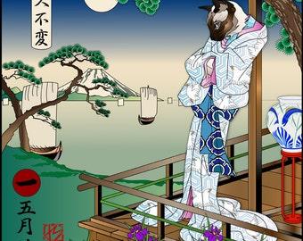 MAY IRISES, Metal Print, Wall Art, Cat Print, Japanese Kimono, Original Art Print, Cat Tales