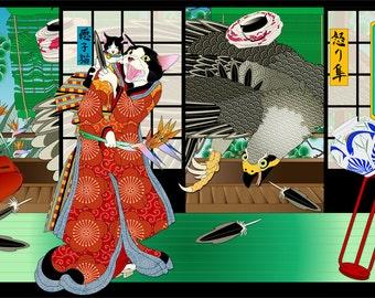 A Bird In Hand, Metal Print, Wall Art, Cat Print, Japanese Kimono, Original Art Print, Falcon, Bird of Paradise, Cat Tales