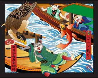 It's Hawk's Party Now, Cats in Kimonos, Metal Print, Wall Art, Cat Print, Japanese Kimono, Original Art Print, Samurai, Cat Tales