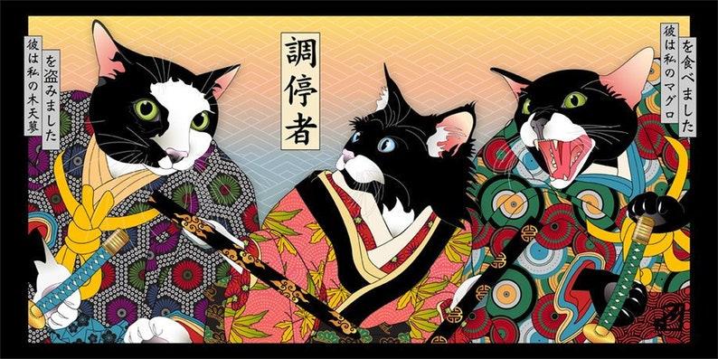 Peacemaker Metal Print Wall Art Cat Print Japanese Kimono image 0