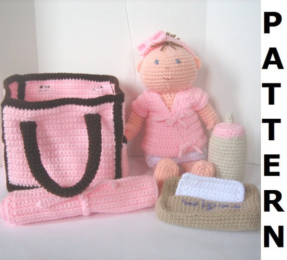 Baby Doll With Diaper Bag Crochet Pattern Etsy