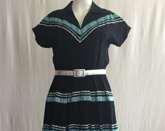 1950's Black Crepe Square Dance Dress