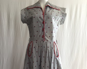 Adorable Gray and Red Cotton Day Dress 40's 50's