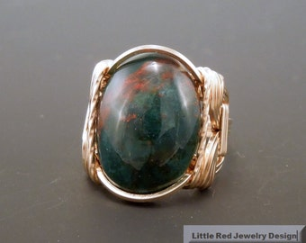 14 k Gold Filled Heliotrope Bloodstone Cabochon Wire Wrapped Ring