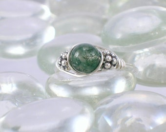 Moss Agate Sterling Silver Bali Bead Ring - Any Size