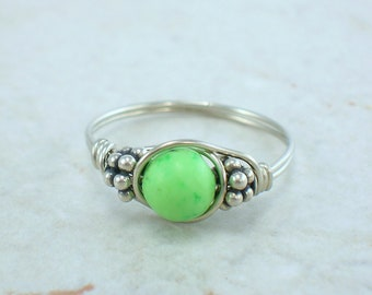Sterling Silver Bright Green Chalk Turquoise and Bali Bead Ring