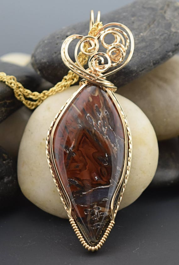 14KT Gold Filled Wire Wrapped Ankara Turkish Agate Pendant