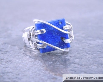 Lapis Lazuli Sterling Silver Wire Ring