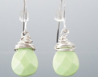 Handcrafted Sterling Silver Wire Wrapped Green Chalk Turquoise Earrings