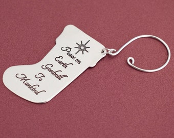 Peace on Earth Goodwill to Mankind Ornament - Christmas Stocking Ornament