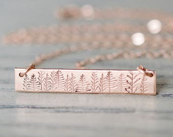 Forest Bar Necklace - Sterling, 14kt Gold Fill, Rose Gold - Custom Stamped Bar Necklace