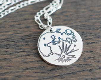 Moon Necklace - Celestial Full Moon Phase Sterling Necklace - Small Moon Charm Pendant