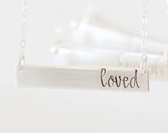Loved Bar Necklace - Sterling, 14kt Gold Fill, Rose Gold - Custom Stamped Bar Necklace