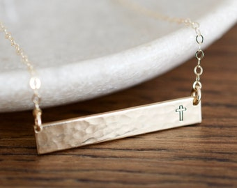 Cross Necklace - Cross Bar Necklace - Sterling, 14kt Gold Fill, Rose Gold - Custom Stamped Bar Necklace