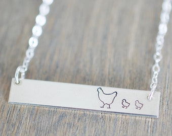 Mother Hen Bar Necklace - Sterling, 14kt Gold Fill, Rose Gold - Custom Stamped Bar Necklace