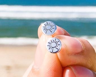 Sun Earrings - Custom Sterling Sunshine Stud Earrings