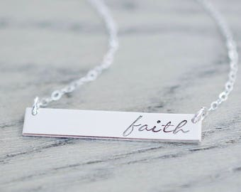 Faith Necklace - Sterling, 14kt Gold Fill, Rose Gold - Custom Stamped Bar Necklace