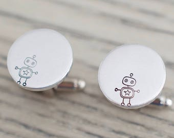Robot Cufflinks - Personalized Cufflinks - Gift for him, men, groom, dad