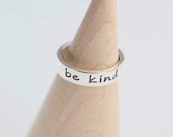 Be Kind Ring - Sterling Stacking Ring - Gift for Her - Ring for Women