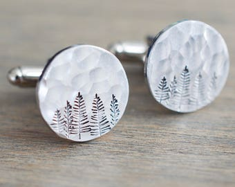 Forest Cufflinks - Tree Cuff links - Evergreen - Personalized Cufflinks - Gift for him, men, groom, dad, wedding