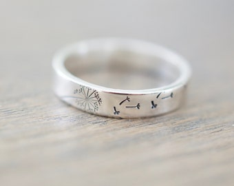 Dandelion Ring - Sterling Silver Ring - Gifts for Her
