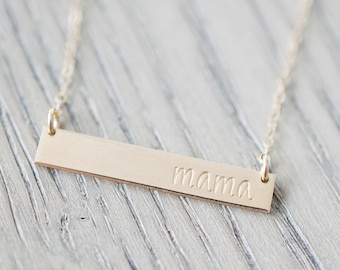 Mama Bar Necklace - Sterling, 14kt Gold Fill, Rose Gold - Custom Stamped Bar Necklace