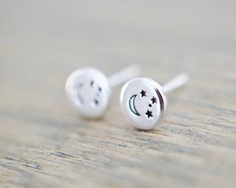 Moon and Stars Earrings - Sterling Stud Earrings - Celestial Jewelry