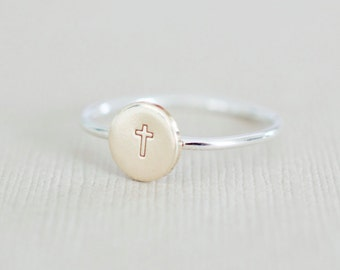 Cross Ring - Custom Cross Ring - Hand stamped Sterling Stacking Ring