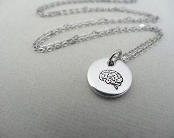 biology neuroscience art Anatomy Gray Brain Necklace Psychology neuron gift art therapy jewelry