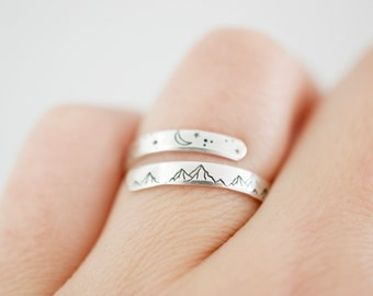 Mountain Ring gift Sisters Silhouette Mountain Ring Cascades Eco- Friendly Recycled Sterling Silver Ring Oregon mountains wedding band