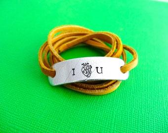 Personalized Bracelet - Leaf Imprint - I (Anatomical heart) U - Custom Hand stamped leather wrap bracelet