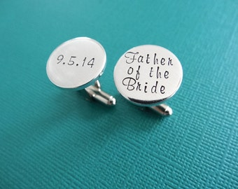 Father of the Bride Cufflinks - Personalized Cufflinks - Wedding Jewelry - Gift from Daughter