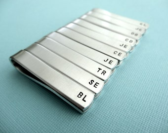 Set of 13 Personalized Tiebars - Initials - Custom stamped tie clips - Bridal Party Jewelry