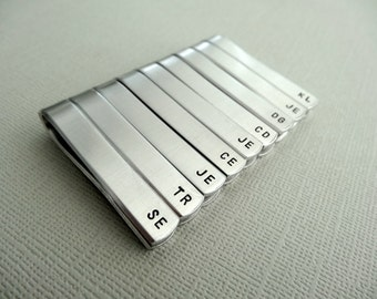 Set of 9 Personalized Tie Bars - Initials - Custom stamped tie clips - Groomsman Gift