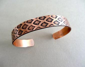 Scales Cuff Bracelet - Copper Bracelet - Textured Bracelet - 3/8