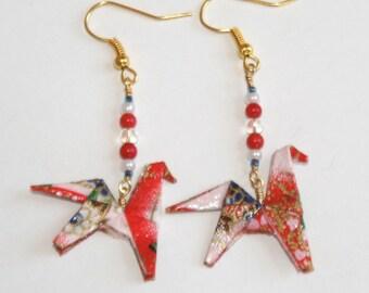 Origami Horse Earrings - Red