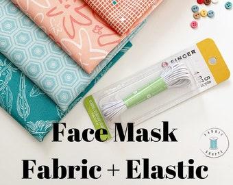 FACE MASK fabric, Homemade Face Masks fabric pack, Cotton Fabric perfect to make Homemade Face Masks, PLUS 5 yards Elastic, Free Shipping!