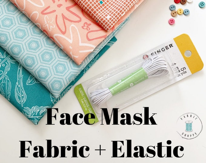 FACE MASK fabric, Homemade Face Masks fabric pack, Cotton Fabric perfect to make Homemade Face Masks, PLUS 5 yards Elastic, Free Shipping!